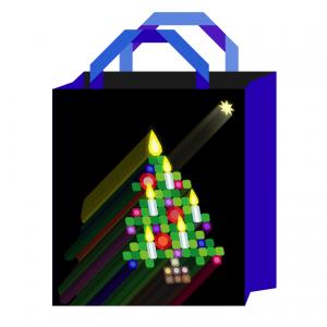 fimo cane christmas tree bag