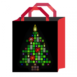 stained glass christmas tree bag