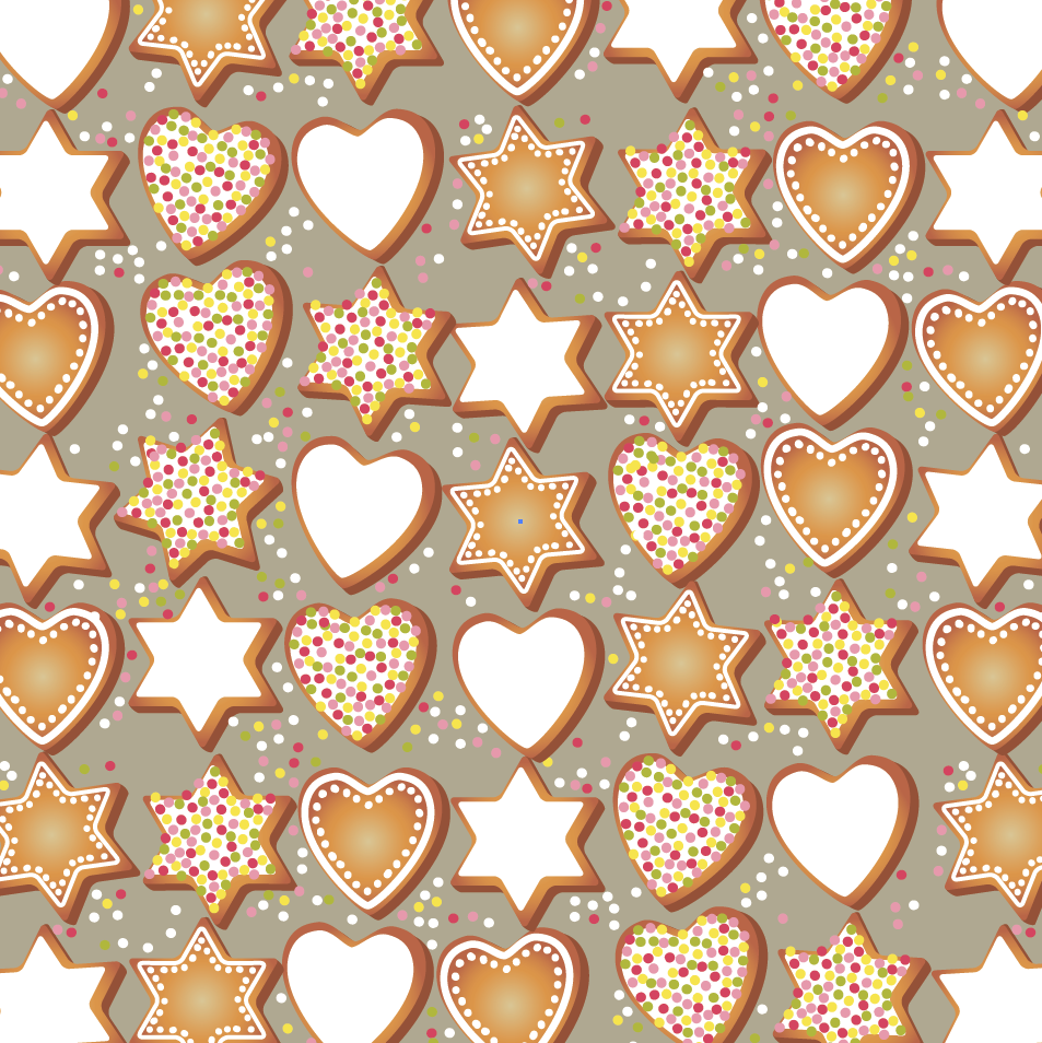 iced star hearts cookies pattern