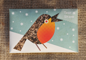 turq robin bird seed card
