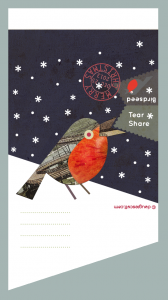 navy robin bird seed christmas card
