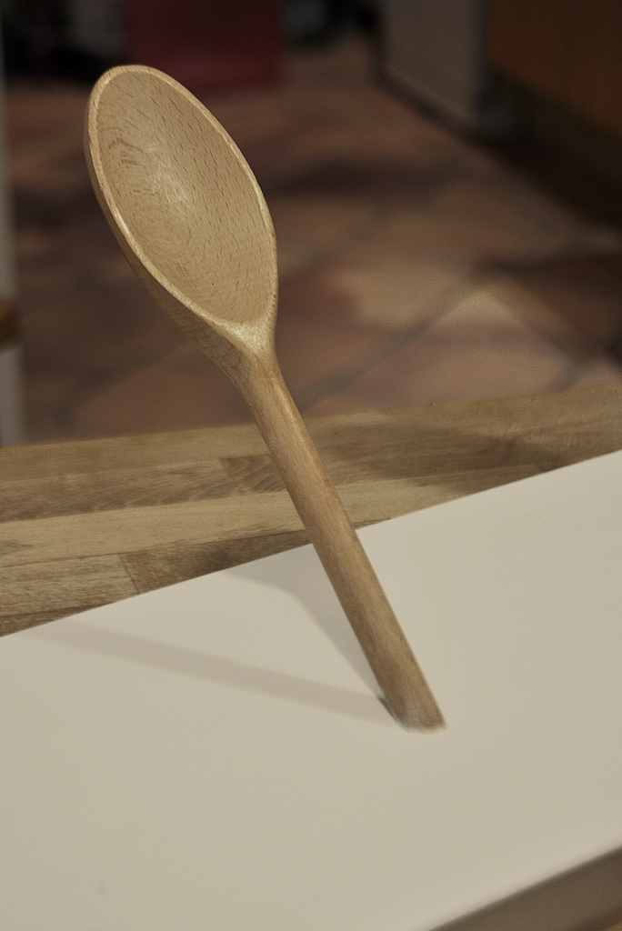 Wooden spoon inset into MDF