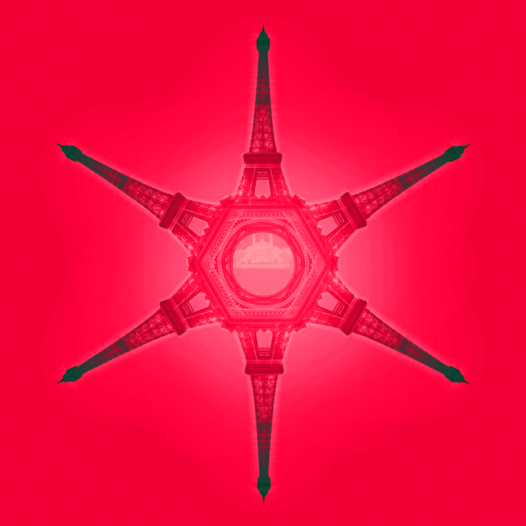 Oh là là. Pink Paris snowflake from Eiffel Tower. Dougie Scott