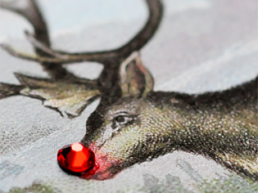 Rudolf reindeer swarovski red nose. Dougie Scott