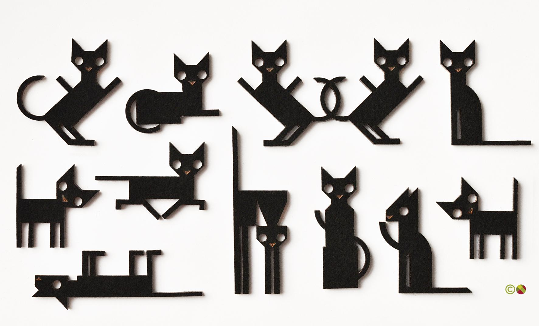 Laser Cut Felt Cats. Dougie Scott