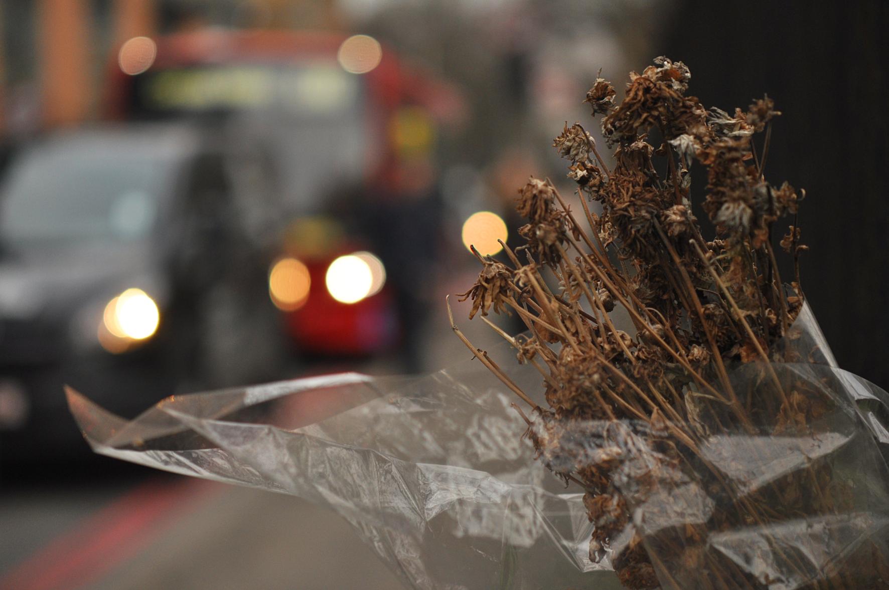 Flowers. Tower Bridge Road + Abbey Street Junction.