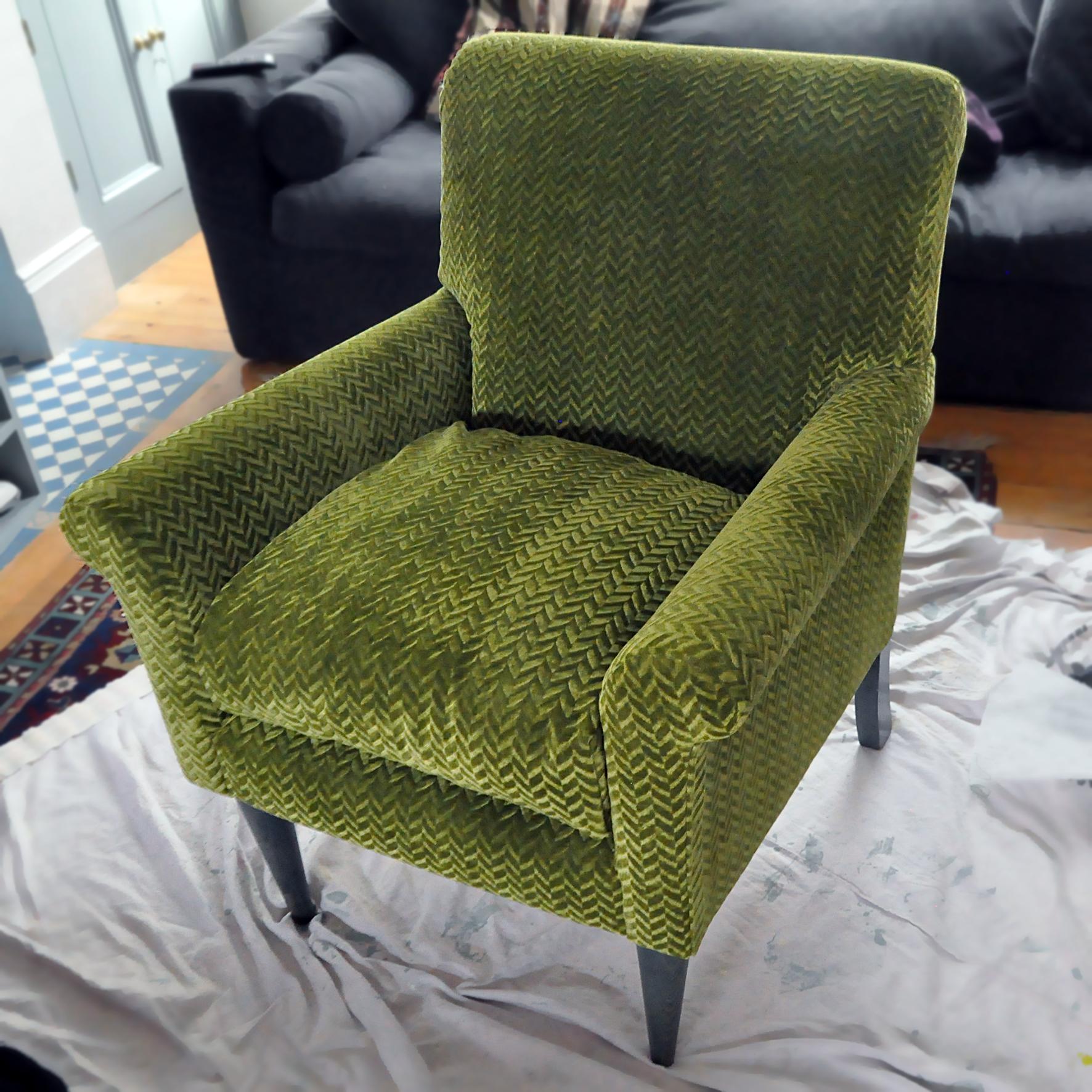 Reupholstered Armchair. Dougie Scott