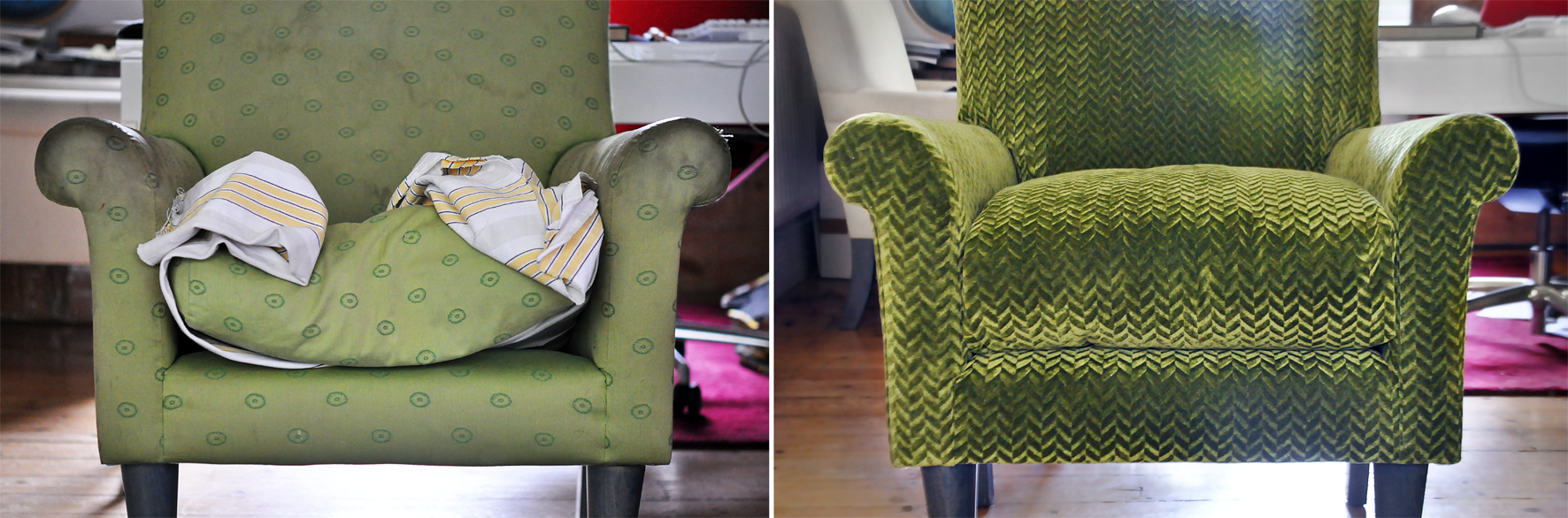 Reupholstery: Before and After. Dougie Scott