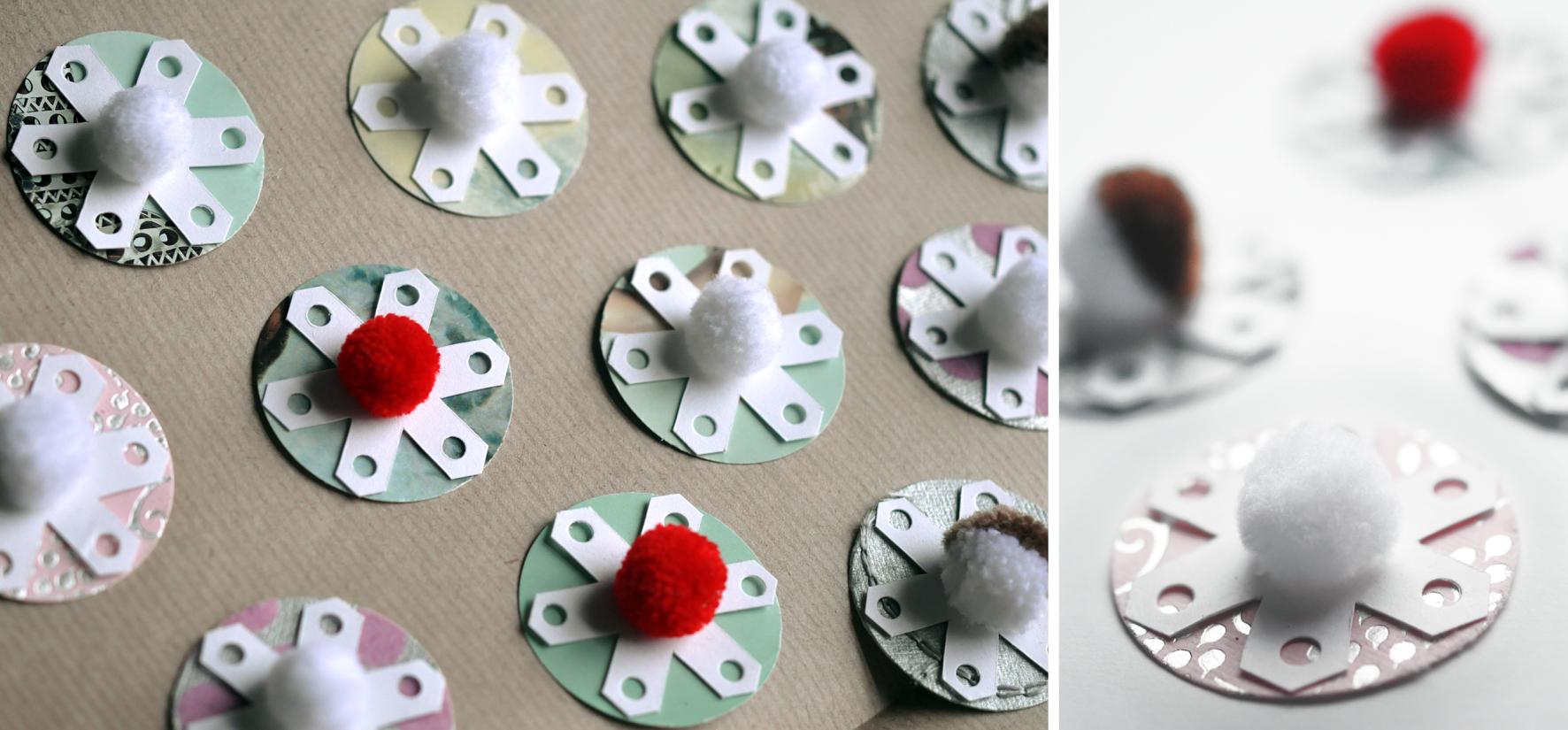Pom pom and recycled card snow. Dougie Scott
